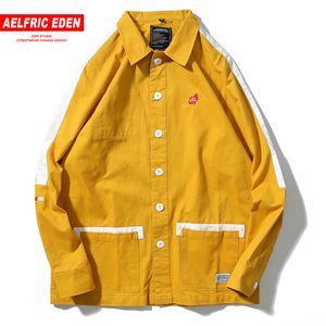 Aelfric Eden Japonya Patchwork Sarı Kaykay Denim Ceket Hayat Kan Nakış Hip Hop Ceket Erkek Mont ve Ceketler PA145