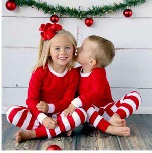 Рождество малыш Детская одежда с длинным рукавом + красный белый полоса мальчики девочки пижамы набор повседневная пижамы Одежда 1-7Y
