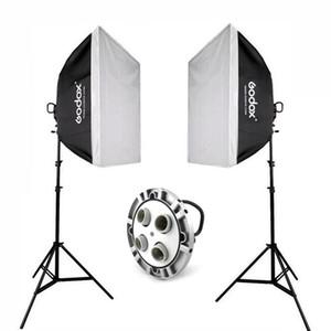 """2x Godox TL-4 E27 4 Socket Studio éclairage ampoule Titulaire de la tête Kit + 60x60cm Softbox + 2m Stand + 33 """"Black Silver Umbrella"""