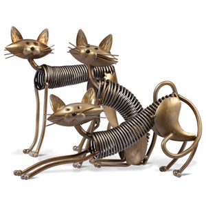 Art Métal moderne Artisanats Printemps Cat Fer Art Chat Figurines Sculpture Articles Ornement Artisanat Décoration Jouets cadeaux