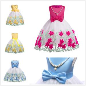 Summer Girls Dresses Gaze brodé de fleurs colorées sans manches en coton avec perle Nechlace taille Bow enfants Dress Big Girls Princess Dress