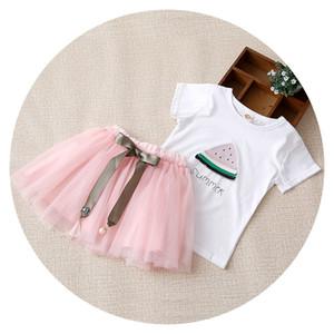 Nouvelle Arrivée Été Filles Vêtements Ensemble Enfants Pastèque Imprimé T-shirt avec Tutu Dentelle Jupe Outfit Mode Enfants Vêtements