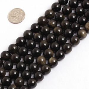 """Whoelsale 100% Doğal Altın Obsidian Boncuk, Taş Takı Gevşek Boncuk, 4mm 6mm 8mm 10mm 12mm takı yapımı için 15.5 """"tam strand"""