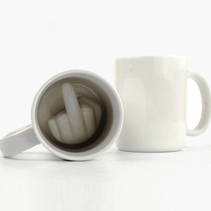 Kreatives Design Keramiktasse Mittelfinger-Art-Neuheit, die Kaffee-Milch-Schale lustige keramische Becher-Schale mischt