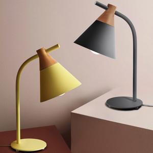 Nordic moderno dormitorio minimalista estudio mesa de noche de moda creativo hogar personalidad macaron lámpara de mesa decorativa