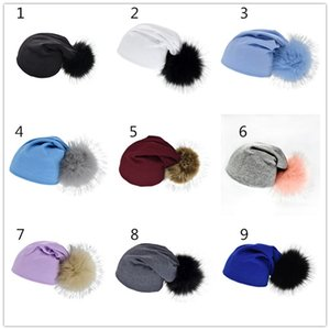 Multicolor Kids Big Pompons Beanie 19X22.5cm for 1-4T Cotton knitted fabric baby hat cute solid color girls boys hat new arrival ins hot