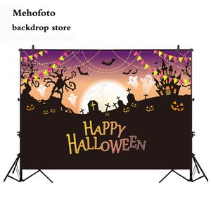 wholesale Halloween Backdrop Theme Party Photo Background Dusk Night Cemetery Photography Backdrops Studio Decoration 928
