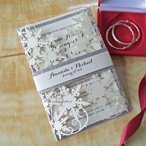 Ivory Shimmy snowfake Laser-Schnitt-Hochzeit Einladungskarten mit Silber Glitter Bauchband Bride Party lädt Free Printing