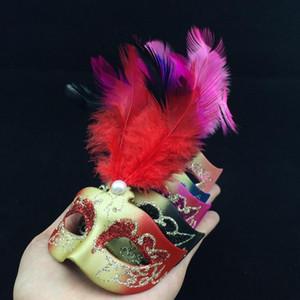 Bella mini piuma maschera veneziana festa in maschera regalo di halloween decorazione bomboniera novità spedizione gratuita colore della miscela