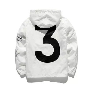 Number 3 Printed Mens Brand Designer Wintermantel Lässige High Street Jacke Athletic Thin Hooded Windbreaker mit Logo