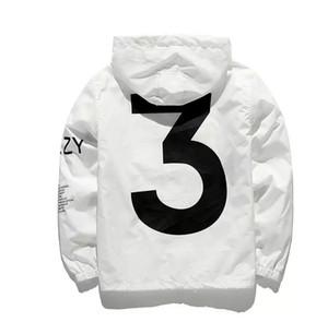 Numarası 3 Baskılı Mens Marka Tasarımcı Kış Coat Casual High Street Ceket Atletik Ince Kapüşonlu Rüzgarlık Logo ile