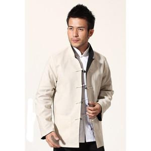 Giacca da uomo cinese reversibile nera beige novità Cappotto in cotone di lino Kung Fu Cappotto a due lati Capispalla M L XL XXL XXXL MN18