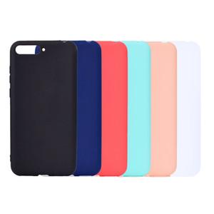 Cubierta del color del caramelo para el caso de Huawei Y6 2018 Soft TPU ultrafino diseñador Mobie cajas del teléfono Capinha para Huawei Y6 2018