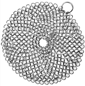 Cast Iron Cleaner 316L Stainless Steel Chainmail Scrubber for Cast Iron Pan Pre-Seasoned pans Dutch Ovens Waffle Iron Scraper