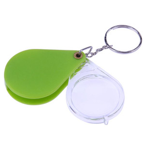 10X Magnifying Glass Folding Magnifier Handheld Glass Lens Plastic Portable Keychain Loupe Green Orange