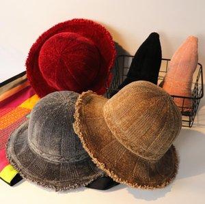 Mujeres de la manera Cloche Bucket Sombrero Gorro de pesca de invierno de pana plegable de ala ancha Harajuku Hat Hut Chapeau Sombrero Cappello