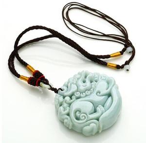 50*50*14 мм TJP природный жадеит нефрит льда Нуо Чжун двусторонняя PIXIU кулон ю Пэй нефрит ожерелье для женщин и мужчин