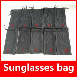Bolsas negras para gafas de sol LOGO bolsos de la marca de la VENTA CALIENTE de la marca gafas de sol caja de 10 colores Opciones Traje de lujo para el normal Tamaño MOQ = 20pcs Fast Ship