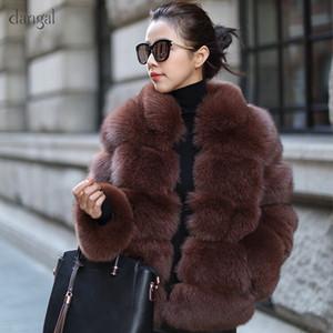Dangal 983 2018 Nouveau Femmes Manteau en fausse fourrure Taille Plus Automne Hiver chaud à manches longues veste en fausse fourrure Gilet Fourrure
