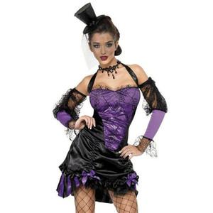 Klasik Seksi Gotik Güzeller Kostüm Cadılar Bayramı Mor Kötü Cadılar ile Fantezi Elbise Karnaval Cosplay Şeytan Üniforma Şapka