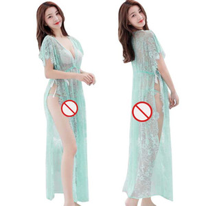 Free Shipping New sexy lingerie cosplay Temptation Pajama Set Sexy Lady Transparent bud silk gauze Tulle Long slit Pajamas Nightdress Bathro