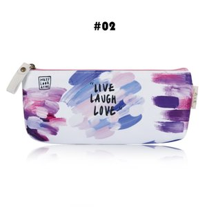1PC Colorful Creative Brush Doodle Pencil Cases Kawaii Canvas School Supplies Stationery Pencil Bag For School Girl Gift