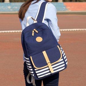 QZH Lona Estilo Preppy Mochila Mulheres Mochilas Escolares para Adolescentes Listrado Laptop Bag Mochila Mochila Mochila Feminina