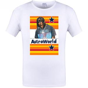 AstroWorld de impresión de letras de rap camiseta Travis Scott mujeres de los hombres de Hip Hop Tees Top Color Blanco Calle floja camiseta de manga corta de Calle