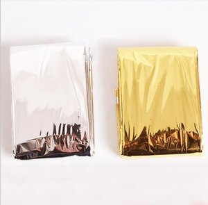 Outdoor Water Proof Emergency Survival Rescue Blanket Foil Thermal Space First Aid Sliver Rescue Curtain gold silver color army pads