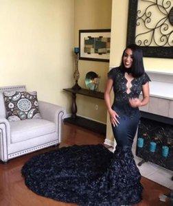 Schwarzes Mädchen Prom Kleider High Neck Cap Sleeves Lace 2018 Vestidos Meerjungfrau Prom Party Kleider mit Rose Court Tain