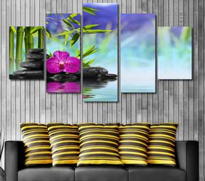 Hot Sale Special Offer Moderne 5 Stück / Set Steine Bambus Druck Wandbilder für Wohnzimmer Hauptdekoration Unframed