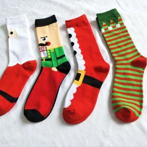 19 스타일 크리스마스 할로윈 양말 성인 크리스마스 호박 산타 클로스 프린트 양말 남색 유니섹스 중형 튜브 양말 2pcs / pair CCA10367 60pairs