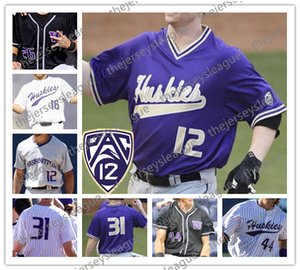 Washington Huskies # 3 Jonathan Schiffer 5 Christian Jones camisetas de béisbol Joe 44 Wainhouse cosido Blanco Púrpura Negro Grey College