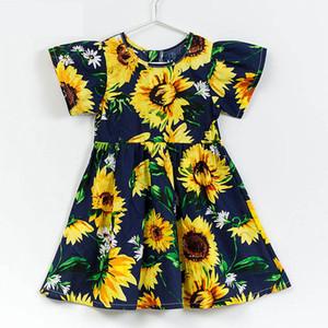Летняя девушка платья с коротким рукавом подсолнечника платье для девочки хлопок Принцесса платья партии для детей 2-12Y