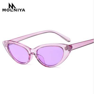 MOLNIYA Sexy Purple Red Small Cat Eye Sunglasses Mujeres Vintage Black Sun Glasses Female ladies Cateyes Sunglass Retro Glass