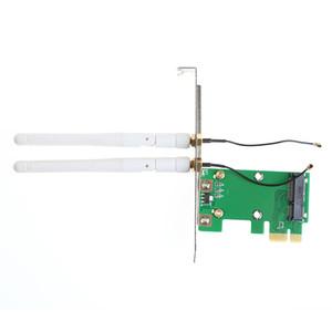 Placa de rede sem fio Wi-Fi Mini PCI-E para adaptador de desktop PCI-E 1X + 2 antenas Feb6