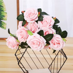 Bela rosa decoração flores artificiais decoração de casamento pequeno buquê flores casa festa primavera mariage falso flor