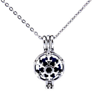 Silver Round Snowflake Beauty Hollow Oil Diffuser Locket Women Aromatherapy Beads Pearl Oyster Cage Necklace Pendant-Boutique gift