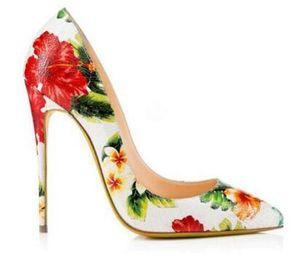 2017 Basic Pu Büro Dame Schuhe Zapatos Mujer Tacon Frauen Spitz Pumps Blumendruck High Heel Handgemachte High Heels Frau