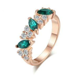Top qualité bijoux vert larme cristal femmes anneau bague or rose couleur autrichien cristaux pleine taille anneaux de mariage en gros