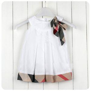 الصيف الطفل بنات مصمم اللباس منقوشة bowknot كشكش بلا أكمام الأطفال الأميرة اللباس النمط البريطاني الاطفال القوس sundress الأميرة اللباس Y563