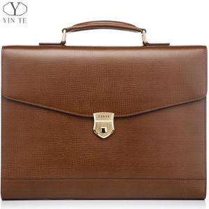 YINTE erkek Deri Evrak Messenger Çanta Laptop Çantası Ofis Çantası Avukat Öğretmen Iş Sert Çantalar Portföy T8570-4