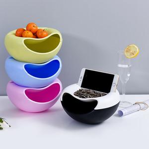 Nuevo estilo de plástico creativo perezoso frutero para semillas nueces y frutas secas caja de almacenamiento redonda de doble piso