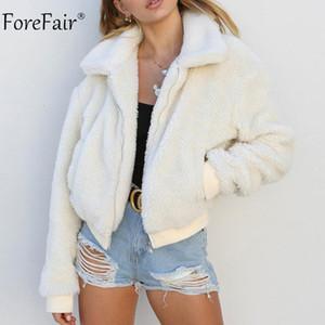 Forefair Fleece Chaqueta Mujeres Otoño de manga larga Crop Top Abrigo de piel sintética Chaqueta de bombardero informal para mujer de invierno Ladies Coat L18100904