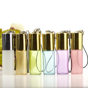 5ml pendentif lustre perle rouleau sur la bouteille huile essentielle vide flacons en verre de parfum porte-clés avec boule en métal LX3763