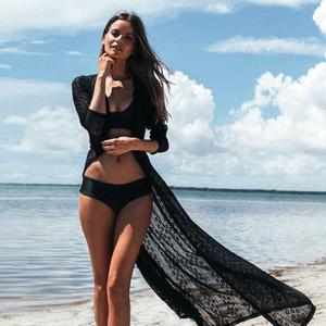 2018 여름 Pareo Beach Cover-Ups 레이스 비키니 롱 드레스 수영복 Women Robe De Plage 비치웨어 카디건 수영복 커버 Up