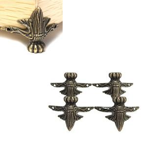 4pcs Antique Brass Jewelry Gift Box Wood Case Decorative Feet Leg Corner Protector J2Y