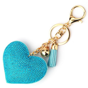 Gold Crystal Heart Keychain Tassel Charm Carabiner Keychain Key Rings Holder Bag Hangs Fashion Jewelry Will and Sandy Drop Ship