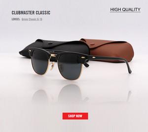 Fabrika toptan en kaliteli 51mm yarım çerçeve tasarımcı kulüp güneş gözlüğü Kadın Erkek usta UV400 protecton aynanın güneş gözlüğü gafas