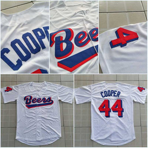 Joe Cooper Coop # 44 BASEketball BEERS Bouton Jersey Film Bas blanc Baseball Maillots de haute qualité Livraison gratuite